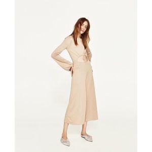 Zara Pants - Zara Beige Drawstring Cutout WideLeg Jumpsuit